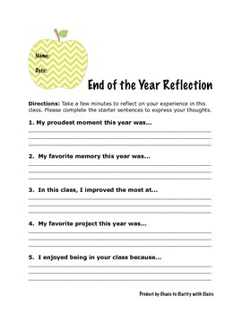 End of the Year Student Reflection