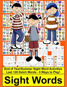 End of the Year Activities or Summer Sight Words Centers-1