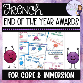 Editable end of the year French awards/certificats de fin