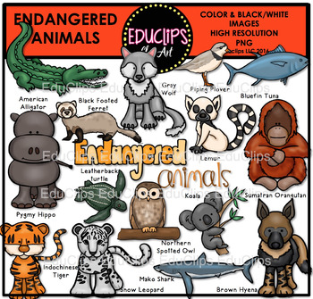 Endangered Animals Clip Art Bundle {Educlips Clipart}