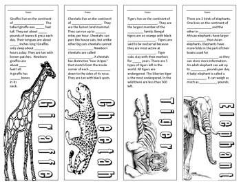 Endangered Animals - Fill in the Facts - Bookmarks