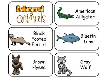 Endangered Animals Picture Word Flash Cards. Preschool fla