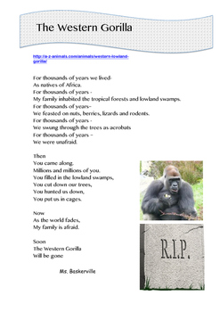 Endangered Animals - Poetry and Research Tasks