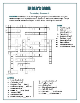 Ender's Game: Synonym/Antonym. Xword to pair with Bookmarks Plus!