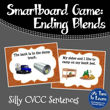 Ending Blends/CVCC Words in Silly Sentences for Smartboard