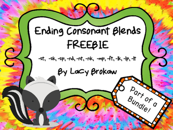 Ending Consonant Blends FREEBIE st, sk, sp, nd, nt, nk, mp