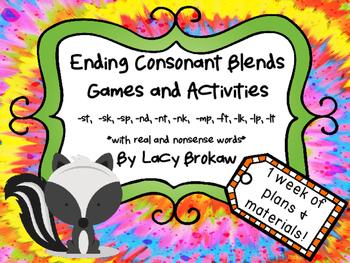 Ending Consonant Blends Games and Activites st, sk, sp, nd