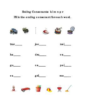 Ending Consonants Fill-in Letters K L M N P R ELA Reading