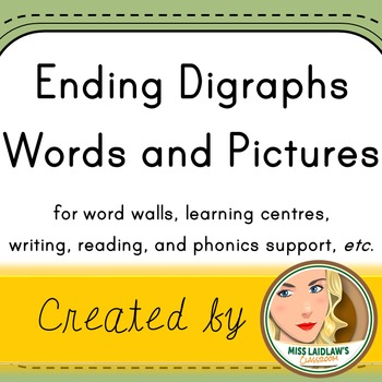 Ending Digraphs and Trigraphs - Word Wall Cards