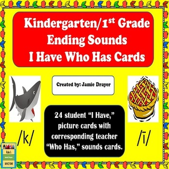 Kindergarten and First Grade Ending Sounds Practice I Have