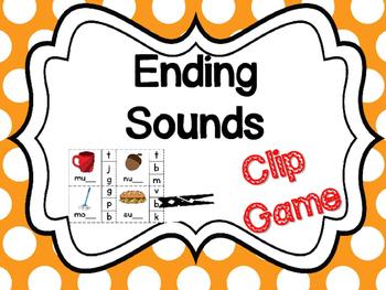 Ending Sounds Clip Game Center Word Work