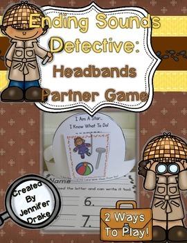 Ending Sounds Detective: Headbands Partner Game for Ending