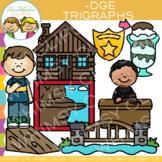 Ending Trigraph Clip Art: -DGE Words