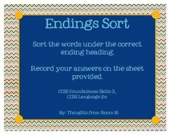 Endings Sort (-s, -es, -ies) from Reading Street Unit 1, Week 2
