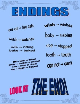 Endings: plurals, past-tense, comparing, irregular plurals