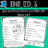Endings -s, -ed, -ing Worksheets