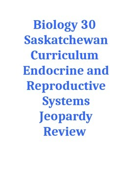 Endocrine and Reproductive Systems Jeopardy Review