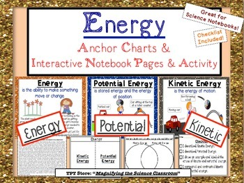 Energy - Anchor Charts, Interactive Notebook Page, & Activities!