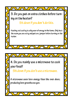 Energy Bandit cards - Save energy activity