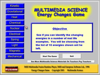 Physics - Energy Changes Game Software
