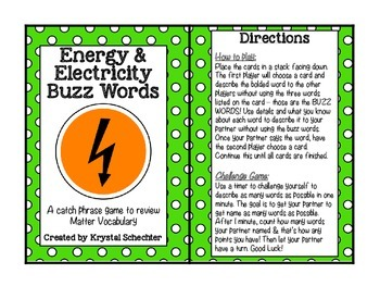Energy & Electricity Buss Words Game