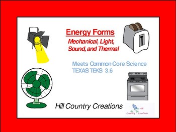 Energy Forms:  Light, Sound, Mechanical, and Thermal CARDS