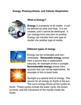 Energy, Photosynthesis and Cellular Respiration