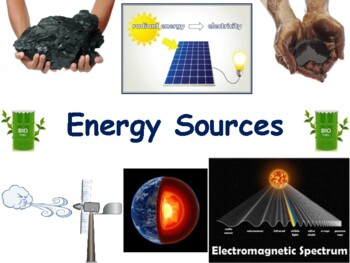 Energy Sources Lesson & Flashcards- task cards, study guid