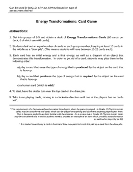 Energy Transformation Card Game