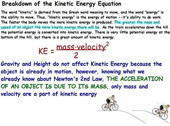 Physics - Energy Transformations - Kinetic Energy w/Worksh