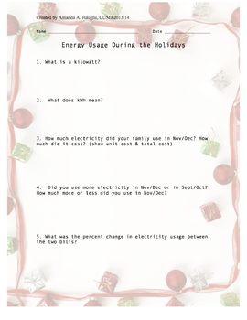 Energy Usage During the Holidays