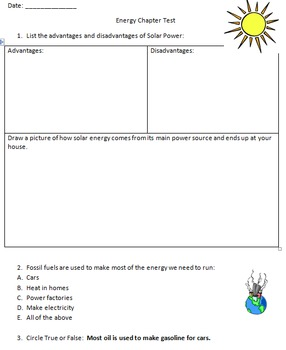 Energy and Energy Resources - Test and Review Guide