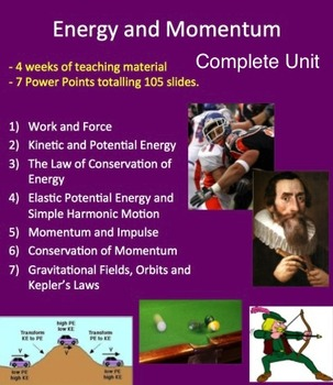 Energy and Momentum Unit - Complete Lessons, Lab, Quiz and