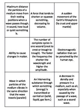 Energy and Waves Matching Card Game Vocabulary