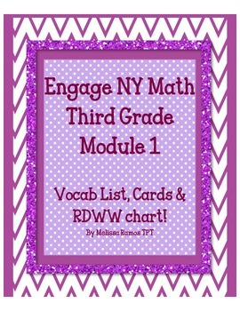 Engage NY 3rd Grade Math Module 1 Vocab list, word cards,