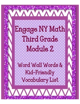 Engage NY 3rd Grade Math Module 2 Word Wall Words, Definit