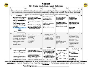 Eureka Math/Engage NY August Homework Calendar (Grade 4 Re