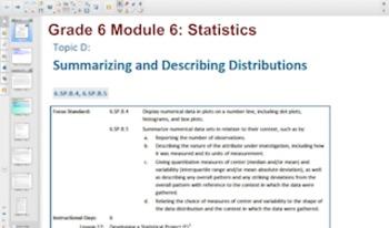 Engage NY Eureka Math 6th Grade Math Module 6Topic D for S