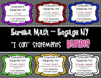 """Engage NY / Eureka Math Mod 1-6 """"I can"""" Bundle {1st Grade}"""
