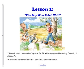 Engage NY First Grade ELA Domain 1 Fables and Folktales Le