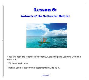 Engage NY Grade 1 ELA Domain 8 Animals and Habitats Lessons 8 & 9