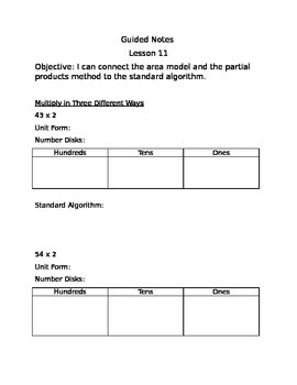 Engage NY Guided Notes Module 3 Lesson 11