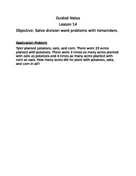 Engage NY Guided Notes Module 3 Lesson 14