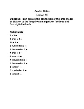 Engage NY Guided Notes Module 3 Lesson 33