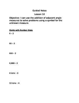 Engage NY Guided Notes Module 4 Lesson 10