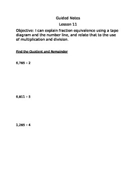 Engage NY Guided Notes Module 5 Lesson 11