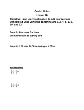 Engage NY Guided Notes Module 5 Lesson 20