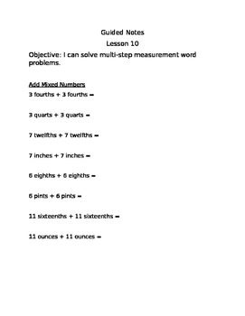 Engage NY Guided Notes Module 7 Lesson 10