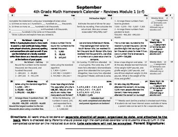 Eureka Math/Engage NY September Homework Calendar (Grade 4
