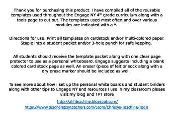Eureka Math/Engage NY Student Template Packet